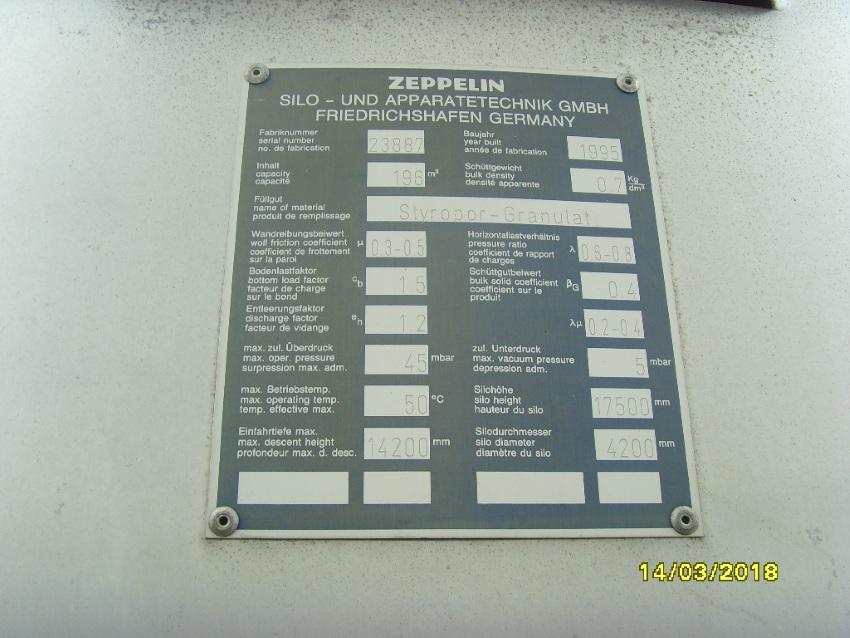 Używany silos aluminiowy na sprzedaż 196 m3